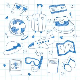 Collezione di doodle di viaggio.