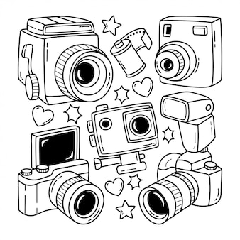 Collezione di doodle disegnato a mano della fotocamera