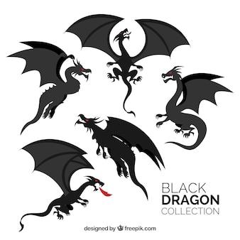 Collezione di draghi in colore nero