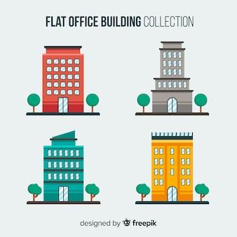 Collezione di edifici per uffici piatti