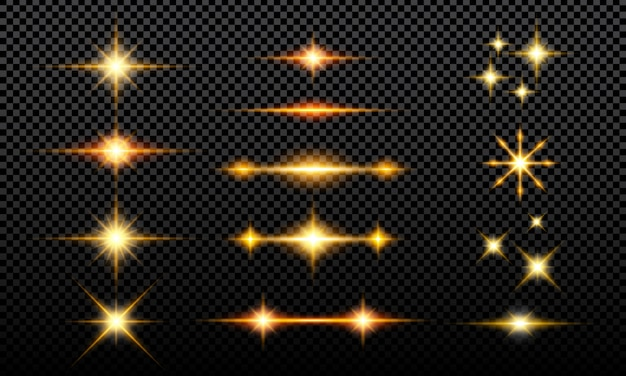 Collezione di effetti glitter luminosi