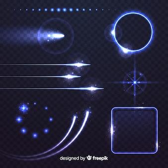 Collezione di effetti luminosi tecnologici