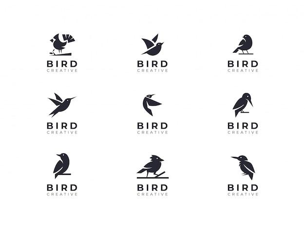 Collezione di eleganti logo minimalista di uccelli