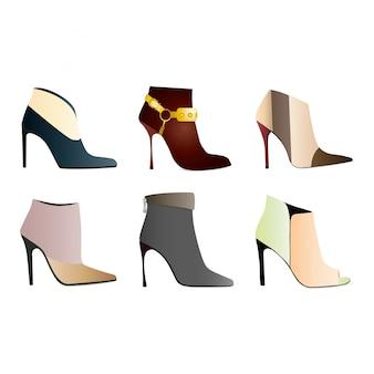 Collezione di eleganti scarpe eleganti e stivali di diversi tipi isolati