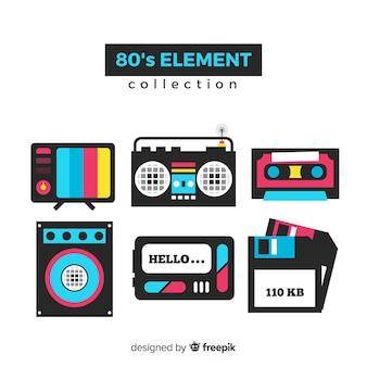 Collezione di elementi anni ottanta piatti