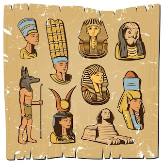 Collezione di elementi antichi egiziani colorati vintage