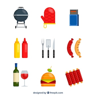 Collezione di elementi barbecue in stile piano