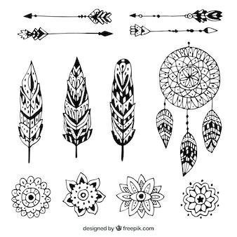Collezione di elementi boho stile disegnato a mano