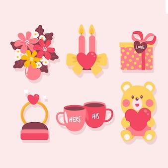Collezione di elementi colorati di san valentino