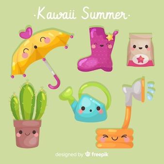 Collezione di elementi colorati kawaii estate