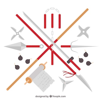 Collezione di elementi colorati ninja con design piatto