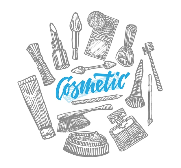Collezione di elementi cosmetici disegnati a mano