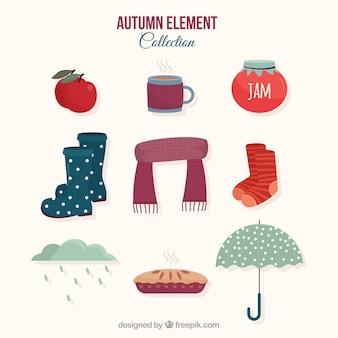 Collezione di elementi d'autunno con stile moderno