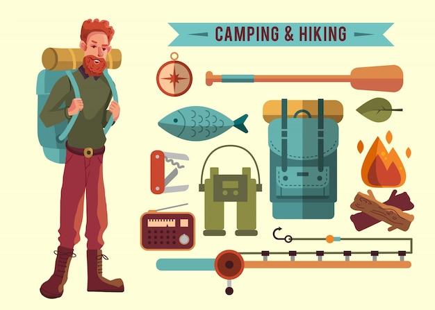 Collezione di elementi da campeggio