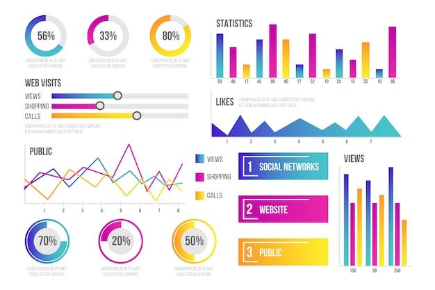 Collezione di elementi dashboard infografica