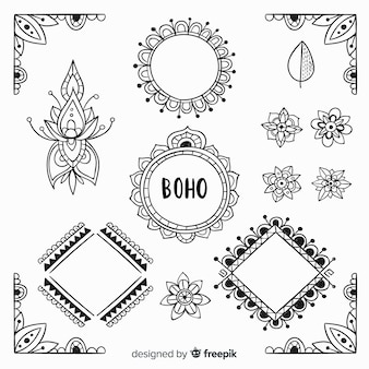 Collezione di elementi decorativi boho disegnati a mano