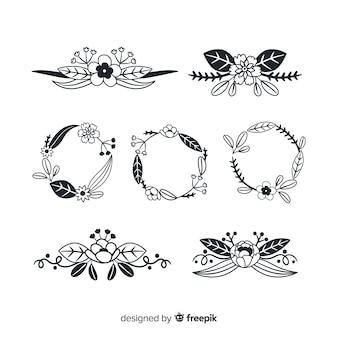 Collezione di elementi decorativi disegnati a mano