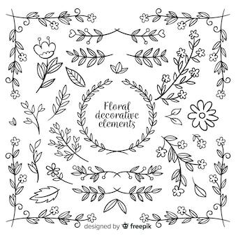 Collezione di elementi decorativi floreali disegnati a mano