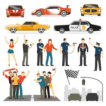 Collezione di elementi decorativi piatti di street racing
