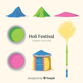 Collezione di elementi del festival di holi