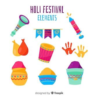 Collezione di elementi del festival holi disegnati a mano