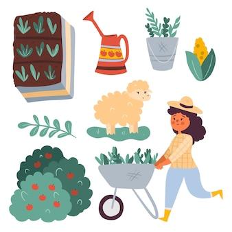 Collezione di elementi di agricoltura biologica