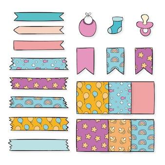Collezione di elementi di baby shower scrapbook