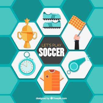 Collezione di elementi di calcio con attrezzature