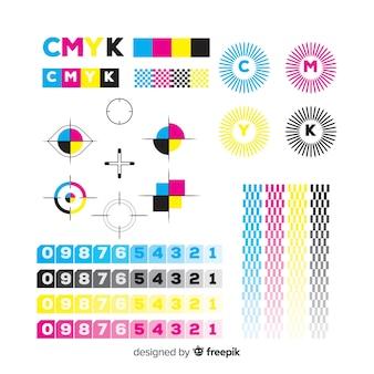 Collezione di elementi di calibrazione cmyk