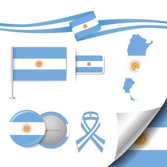 Collezione di elementi di cancelleria con la bandiera del design argentina