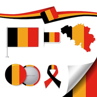 Collezione di elementi di cancelleria con la bandiera del design belgium