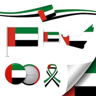 Collezione di elementi di cancelleria con la bandiera del design degli emirati arabi uniti
