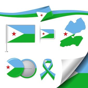 Collezione di elementi di cancelleria con la bandiera del design djibouti