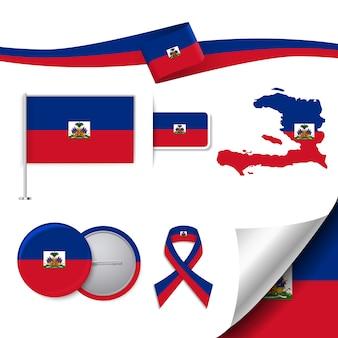 Collezione di elementi di cancelleria con la bandiera del design haiti