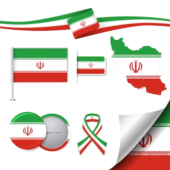 Collezione di elementi di cancelleria con la bandiera del design iraniano