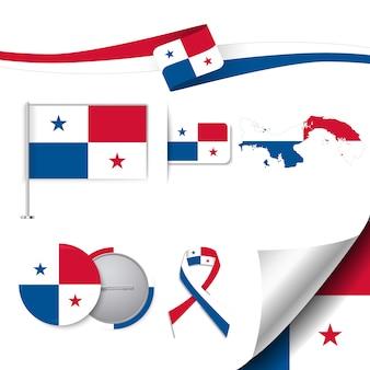 Collezione di elementi di cancelleria con la bandiera del design panama