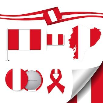 Collezione di elementi di cancelleria con la bandiera del design peru
