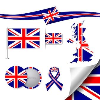 Collezione di elementi di cancelleria con la bandiera del design regno unito
