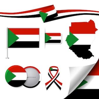 Collezione di elementi di cancelleria con la bandiera del design sudanese