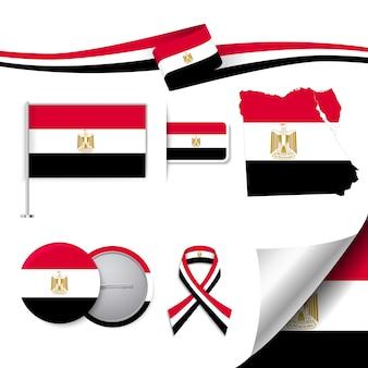 Collezione di elementi di cancelleria con la bandiera del disegno egitto