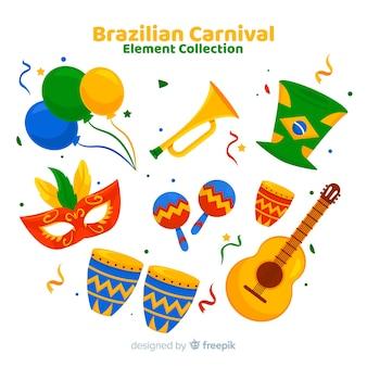 Collezione di elementi di carnevale brasiliano