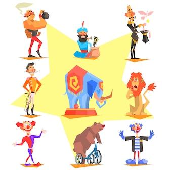Collezione di elementi di circo e carnevale