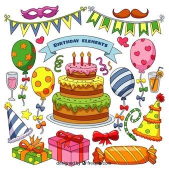 Collezione di elementi di compleanno in colori vivaci