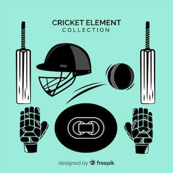 Collezione di elementi di cricket disegnata a mano