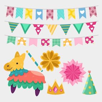 Collezione di elementi di decorazione di compleanno