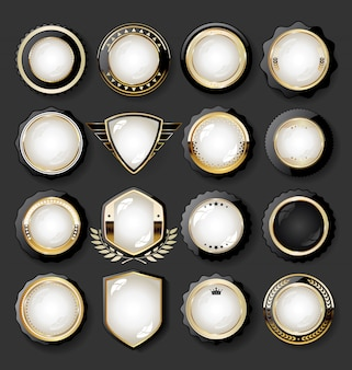Collezione di elementi di design dorato di lusso badge etichette ed allori