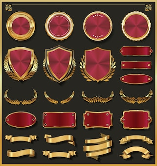 Collezione di elementi di design in oro e argento di lusso