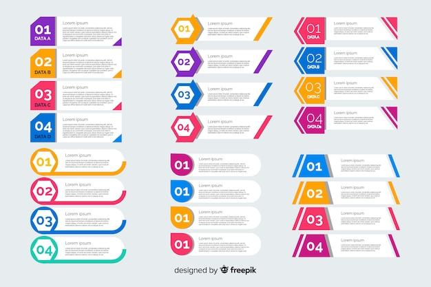 Collezione di elementi di design piatto business infografica