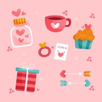 Collezione di elementi di design piatto san valentino
