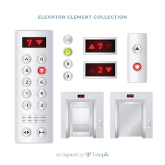 Collezione di elementi di elevazione con un design realistico